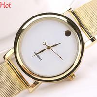 batteries web - Hot Gold Metal Iron Net Web Mesh Band Watches Fashion Simple Quartz Wrist Watch Hours Mens Womens Clock Black White Watch Simple SV019241