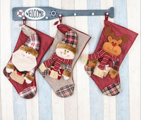 Wholesale High Quality Big Christmas Stockings Plaid Santa Snowman Moose Beer Christmas Gift Bag Christmas Decorations candy pocket Hanging Orname