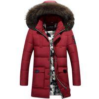 achat en gros de mens long et épais manteau noir-2016 Nouveau Hommes Down Coat Real Raccoon Fur Collar Long Noir épais Chaudes Casual Hooded Veste d'hiver Hommes