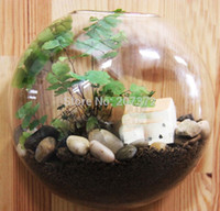 Wholesale 2pcs Transparent Crystal Glass hanging wall plant vase glass terrarium decoration wall home decor