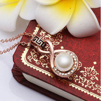 Cheap Free shipping 2016 High quality gold silver chain Statement crystal pearl necklaces & pendants costume jewelry hot