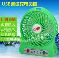 battery light rope - 2016 USB mini Protable Fan Rechargable Table Plantain Fan LED Light Battery Adjustable Speeds F95B Mini Fans with cable for computer New