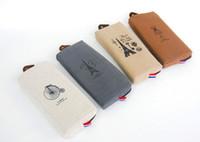 Wholesale Paris pencil case vintage canvas Pencil pen Case Pocket organizer storage Makeup cosmetic stationery bag with zipper