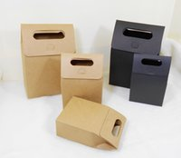 Cheap 20pcs pack: 16*9*28cm Black Paper Gift Box Kraft Craft Bag with Handle Soap Candy Bakery Cookie Biscuits Decorative paper Boxes