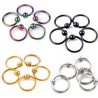 bcr captive ring - 50pcs Titanium Captive Rings BCR Eyebrow Tragus Nose Nipple Ring Bar CBR Lips Piercings tragus ring