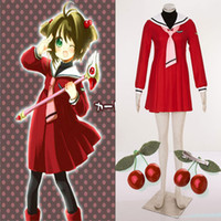 Acheter Mignon cosplay fille-HOT Anime populaire CardCaptor Sakura Cosplay Sakura Costume Costume Robe Rouge Pour Fille Pretty Cute Robe