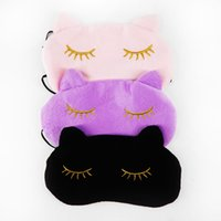 Wholesale Sleep Mask Cartoon Eyes - Cute Cat Sleeping Eye Mask Nap Cartoon Eye Shade Sleep Mask Black Mask Bandage on Eyes for Sleeping-MSK03