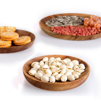 Wholesale Wooden Plate Fruit Tray European Style Solid Wood Candy Dish Snack Dish