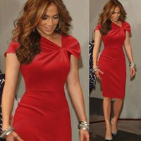 art deco lady - Knee Length Women Red Cocktail Dresses Cap Sleeves Sheath Short Formal Dresses for Ladies Sexy Ruched Asymmetry Neck Pencil Casual Dress BM