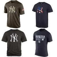 Men banner services - MLB New York Yankees T Shirts Baseball jerseys Tshirts Banner Wave Salute To Service navy black grey freeshipping