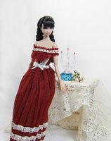 Wholesale Lin s handmade girl wine red doll dress clothes accessories for Barbie Momoko Nippon Blythe Jenny quot Obtisu and similar