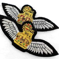 Silk Ribbon air force wedding - 2016 Real New Fallout Gear Solid Imported Hand Wire Embroidery British Air Force Medal Wedding Dress Silver Wings Crown x4cm