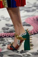 Women antique shoe buckles - 2016 fashion week Malin Studded sandal women spike mules High Heels pump Antique muti color Gold black leather mule rivet shoes