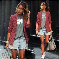 achat en gros de plaid femmes veste de costume-Vêtements de loisirs de mode petit costume Red treillis à manches longues lapel costumes vêtements d'affaires Ladies veste Vêtements pour femmes 9029