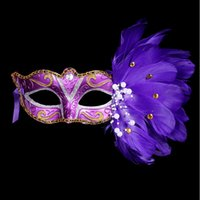 animals for sale - Hot sale sexy Women Feathered Venetian Masquerade Masks for a masked ball Lace Flower Masks purple white blue yellow