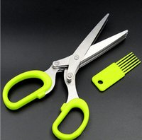 Wholesale 2016 Stainless steel kitchen scissors five Layers scallion office shredding scissors vegetable Tools Creative kitchen supplies