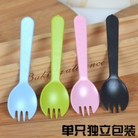 Wholesale Frosted cake fork spoon fork spoon pastry fork spoon fork special thick food grade individually wrapped spork