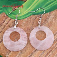 Wholesale Natural Stone Drop Earrings Round Hollow Cabochon Gem Stone Earrings Rose Quartz Opal etc Accessories Fashion Jewelry For Women Pairs