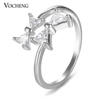 Wholesale VOCHENG Bowknot Engagement Ring for Women Free Size Gold Platinum Plated Brass Metal CZ Stone Cute Jewelry VR