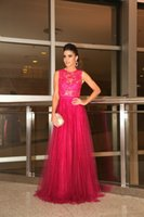 arabic shopping - Arabic Long Evening Dresses Illusion Jewel Neck Tulle Lace Prom Dress Covered with Buttons Shopping Online