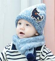 Wholesale Children Fleece Hat Scarf Wholesale - 2016 New Winter Kids Warm Knitting Hat 2pc sets 3colors cat pointed hat+warm splicing fleece scarf Children Autumn warm Accessory 1-5T