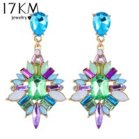 Wholesale Fashion Brand Luxury Colorful Bohemia Rhinestone Stud Earring joyeria Maxi Fine pendiente Statement brincos Earrings For Women