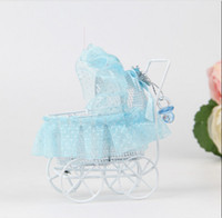 baby carriage favor boxes - HOT Blue Pram With Lace Baby Carriage Metal Candy Boxes Baby Shower Souvenirs Wedding Favors Gifts Decorative Stroller Box