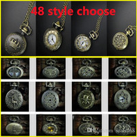 Wholesale Vine Pocket Watch Retro Bronze Quartz Pendant Chain Necklace Crown Cross Sweater Pendant Neckalce S Model GZ Q01
