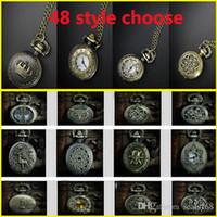 Wholesale Vintage Pocket Watch Retro Bronze Quartz Pendant Chain Necklace Crown Cross Sweater Pendant Neckalce S Model GZ Q01