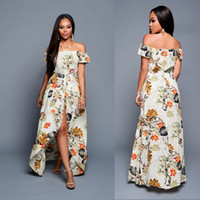 Wholesale Dear lovers Summer Women Off Shoulder Maxi Dress Beige Multi color Floral Slit Romper Beach Long Dress Robe Longue free