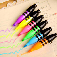 Wholesale 6 Highlighter Colors Pens DIY Drawing Marker Pen Stationery Office Material School Supplies School Christmas Gift Material Escolar