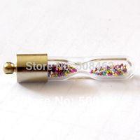 ac coin - ashion Jewelry Pendants hourglass sand clock glass Vials Pendant metal cap amp rubber plug GLASS BOTTLE handmade jewelry ac