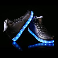 adult shoe soles - 2016 women lights up led luminous shoes high top glowing casual shoes with new simulation sole charge for men adults neon basket
