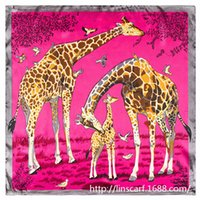 big giraffes - European and American big giraffe animal print silk ladies small square scarf cm scarves