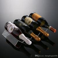 Precio de Bastidores de almacenamiento de vino-2016 Alta calidad Nuevas cajas de almacenaje plásticas claras Estantería de acrílico 4 botellas Estantes de vino Sostenedores de vino Soportes de vino LArge Volum