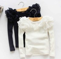 Wholesale Girls T shirt Autumn new children ruffle fly sleeve long sleeve T shirt Kids cotton princess T shirt tops rose white dark blue A7032