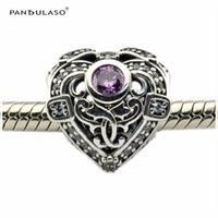 Wholesale Opulent Heart Orchid Clear CZ Sterling Silver For Woman Gift Fits Pandora Bracelet For Woman Beads DIY Woman Jewelry Wholeasle