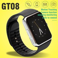 Wholesale GT08 Smart Watch Phone For Android IOS Wristwear Support Sync Smart Clock Wearable Smart Watches With Gift Box DHL Free OTH098