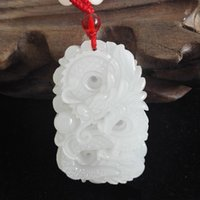 afghanistan jewelry - Natural Afghanistan white jade Hand Carved Dragon Pendant Zodiac Jade Pendant Necklace Men and Women Jewelry