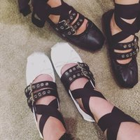 ballerina style shoes - 2016 Summer Brand New Ballet Flats Sweet Bowtie Korean Style Double Buckle Fashion Ballerinas Espadrilles Shoes for Women Sale