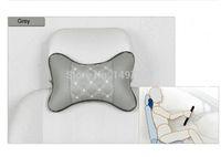 Wholesale New Bone Shaped High Quality Leather Car Seat Head Neck Pillow Rhombus Pattern Headrest Car Supplies Grey