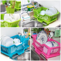 Wholesale Kitchen Plastic Draining Tray Dish Drainer Drying Rack Tray Sink Holder Basket Knife Sponge Fork Holder Dish Rack For Kitchen