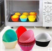 bake a cake - A set of Candy Color Silicone Cake Baking Moulds Muffin Cup Cake Moulds Non toxic Tasteless Non stick Bakeware Cupcakes LJJH303 SET