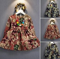 animal dressing gown - 2016 Fall kids clothes girls Baby DRESS Long Sleeve floral Gilrs Clothes Kids Dresses Winter red princess dress Christmas Clothing