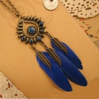 beautiful red jewellery - 2016 New Fashion beautiful Feather Necklaces Long Charms Necklaces For Women Jewellery