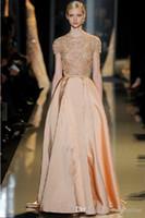 2016 Elie Saab una linea di abiti da sera convenzionale o collo taffetà Gonne pavimento della vita dell'impero di lunghezza maniche corte merletto del ricamo di paillettes di promenade