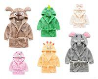 Wholesale Retail Kids Boys Girls Bathrobe Autumn Winter Cotton Wicking Sleep Robes Children Cartoon Dog Eleghant Cat Swim Beach Hooded Towels Blankets