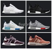 Wholesale 2016 NMD R1 Monochrome Mesh Triple White Salmon Cream Men Women Running Shoes Sneakers Originals Fashion NMD Runner Primeknit Sports Shoes