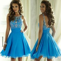 Wholesale Mini Short Summer Junior Homecoming Dresses A Line Beaded Crystals Chiffon Ruffles Backless Cocktail Graduation Gowns for Juniors
