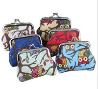 Wholesale New cartoon owl coin purses lady canvas small canvas key holder wallet hasp small gifts bag clutch handbag